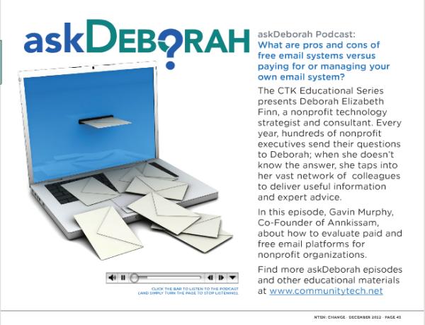 """askDeborah"" podcast, NTEN:Change journal, December 2012"