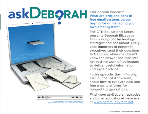 """askDeborah"" podcast, NTEN:Change journal, December 2012"