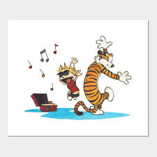 Calvin and Hobbes do a happy dance